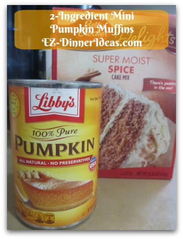 Recipe Using Spice Cake Mix | 2-Ingredient Mini Pumpkin Muffins - only 2 ingredients.  Pumpkin puree and spice cake mix.