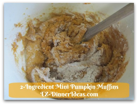 Recipe Using Spice Cake Mix | 2-Ingredient Mini Pumpkin Muffins - When you combine the only 2 ingredients together, it may look too dry.