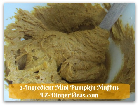 Recipe Using Spice Cake Mix | 2-Ingredient Mini Pumpkin Muffins - See, once all the ingredients are mixed together, the batter is perfect.