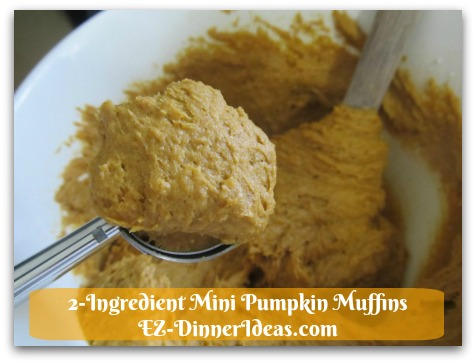 Recipe Using Spice Cake Mix | 2-Ingredient Mini Pumpkin Muffins - Use an ice-cream scoop of 2 tsp size to transfer batter into cupcake tin.