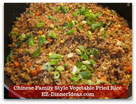 Mixed Vegetable Fried Rice | Chinese Family Style Vegetable Fried Rice - Garnish with scallion (optional) and enjoy immediately!