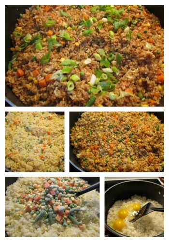 Chinese Family Style Vegetable Fried Rice-Mixed vegetable fried rice is a popular Chinese family dinner.  It is super easy.  Using leftover and pantry ingredients, a filling and tasty dinner is done.