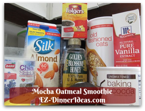 Mocha Oatmeal Smoothie - All healthy ingredients