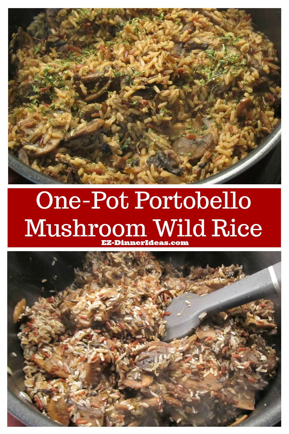 A dinner idea in one pot filled with plenty of great and healthy ingredients.  What better than this one-pot Portobello mushroom wild rice?