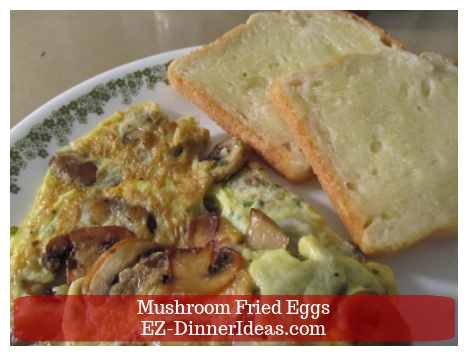 This mushroom fried eggs recipe is the happy medium of scrambled eggs, frittata and omelete.  It is quicker and easier.