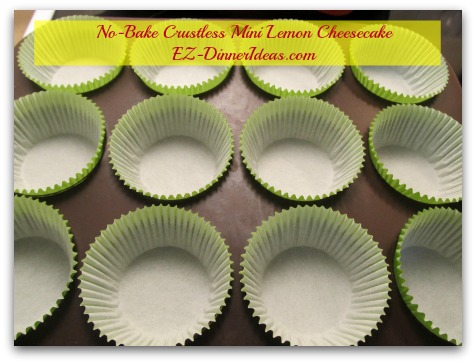 No-Bake Crustless Mini Lemon Cheesecake - Line muffin pan with cupcake liners