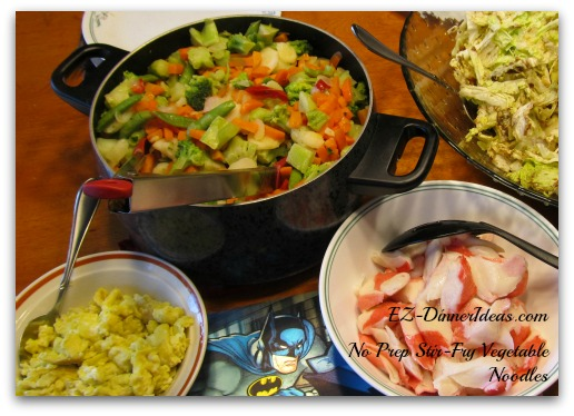 No Prep Stir-Fry Vegetables Noodles Served with Different Side Dishes
