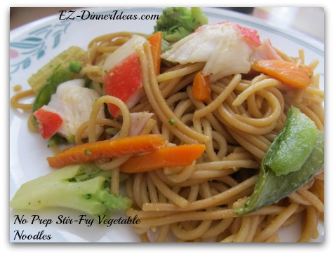 No prep Stir-Fry Vegetables Noodles, ready in 30 minutes. Better than take-out.  Super affordable meal to feed 8 people. Guests make their own version noodle stir-fry.