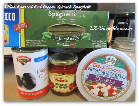 Olive Roasted Red Pepper Spinach Spaghetti - 4 ingredients make this one-pot pantry vegetarian pasta meal