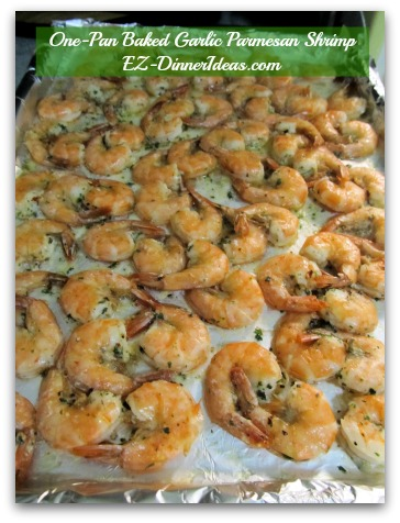 One-Pan Baked Garlic Parmesan Shrimp - Single layer all the shrimp on a baking sheet