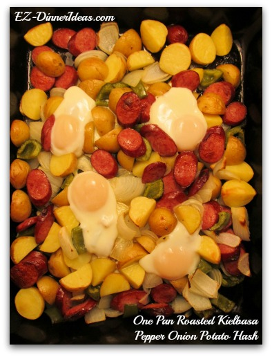 One Pan Roasted Kielbasa Pepper Onion Potato Hash