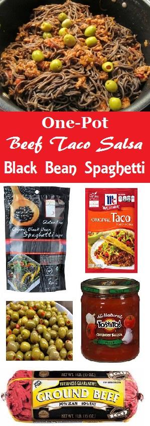 One-Pot Beef Taco Salsa Black Bean Spaghetti - 5 Ingredients to make this make-you-feel-good pasta dish