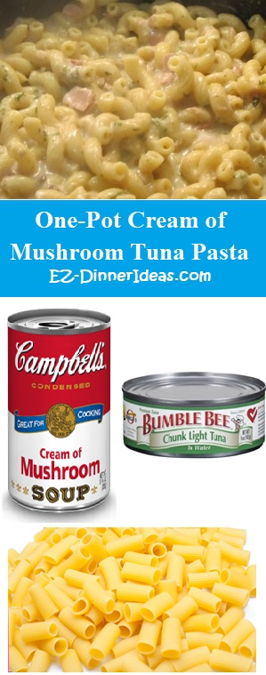 One-Pot Cream Of Mushroom Tuna Pasta - 3 ingredients from your pantry, dinner can't be easier, right?