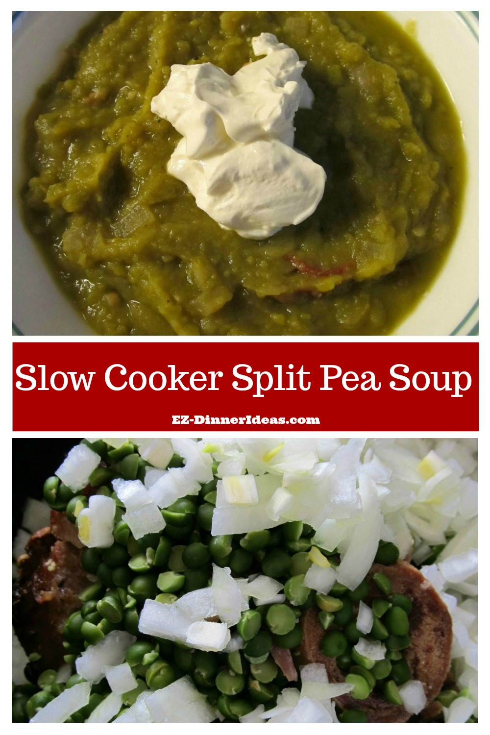 One-pot dinner with flavorful smooth silky soup without a blender.  Yes, I am talking about this slow cooker split pea soup.  Super easy yummy meal for a family.
