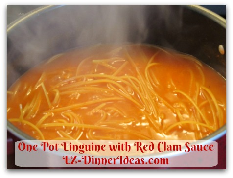 One Pot Linguine with Red Clam Sauce - Stir in linguine and simmer for 14 minutes