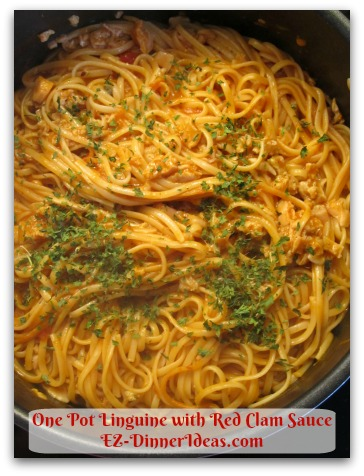 One Pot Linguine with Red Clam Sauce - Use vegetarian version spaghetti sauce for this recipe