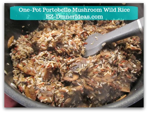 One-Pot Portobello Mushroom Wild Rice - Stir in wild rice mix