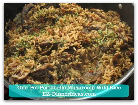 One-Pot Portobello Mushroom Wild Rice - 20 minutes later, salt and pepper to taste and garnish with Parsley flakes.  Enjoy!