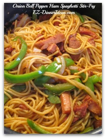 Onion Bell Pepper Ham Spaghetti Stir-Fry
