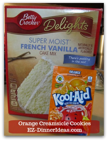 Easy Cake Mix Cookies Recipe | Orange Creamsicle Cookies - French Vanilla Cake Mix and Orange Drink Powder Mix are the key ingredients of this recipe.