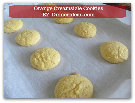 Easy Cake Mix Cookies Recipe | Orange Creamsicle Cookies - Bake at 350°F for 10-12 minutes.