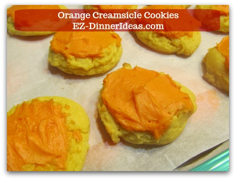 Easy Cake Mix Cookies Recipe | Orange Creamsicle Cookies - Use a butter knife to add icing on top of cookies.