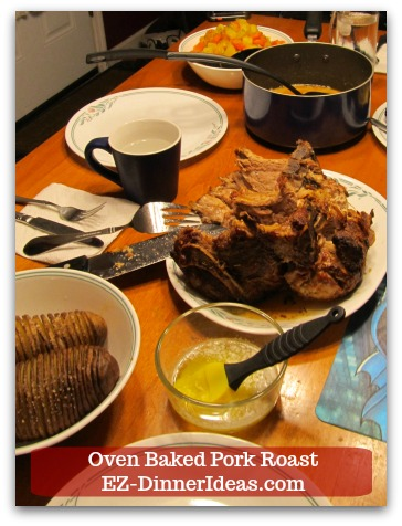 Oven Baked Pork Roast Recipe with Strawberry Pepper Sauce or Gravy - I once served it with roasted acorn squash and hasselback potatoes.