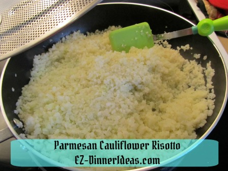 Parmesan Cauliflower Risotto - Cover skillet with splatter screen helps to thaw frozen cauliflower rice quicker