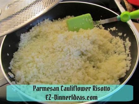 Parmesan Cauliflower Risotto - Cover skillet with splatter screen helps to thaw frozen cauliflower rice quicker