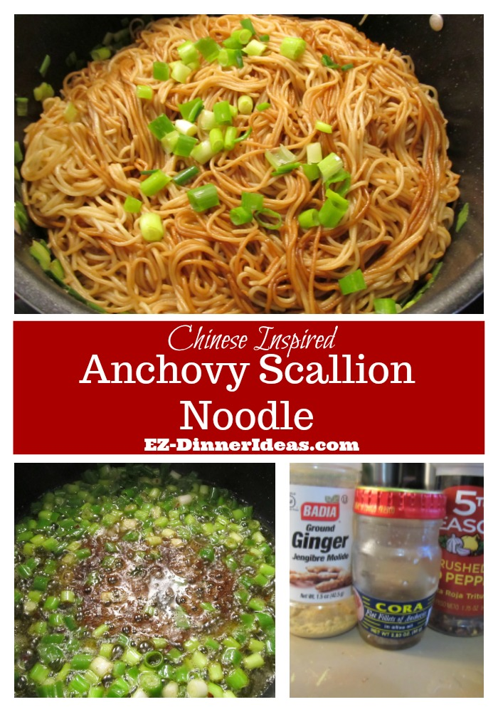 Pasta with Anchovies | Chinese Inspired Anchovy Scallion Noodle Recipe - It is a Chinese inspired dish from an heirloom recipe.  Super tasty and easy to make for a quick meal.