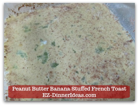 Banana French Toast Recipe | Peanut Butter Banana Stuffed French Toast - Whisk to combine and put egg mixture aside.