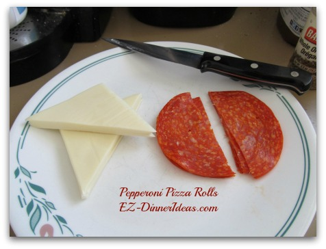 Pepperoni Pizza Rolls - stack sliced cheese and pepperoni separately and cut them into halves
