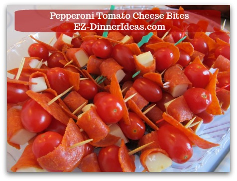 Cheese Finger Food | Pepperoni Tomato Cheese Bites - Your guests will appreciate the extra effort you put in for putting 3 simple ingredients together and make it something super special.