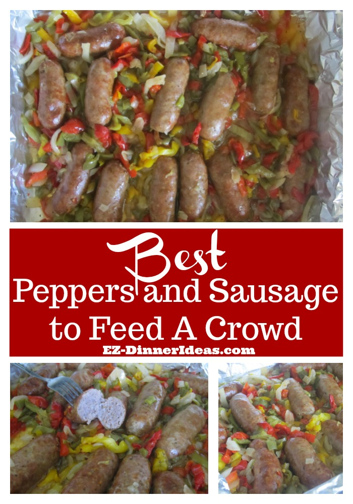 A peppers sausage recipe with NO active cook time, but feed a crowd of 8-10 people.  Presentation is as great as any professional caterer.  Easy to watch and easy to eat.  MUST try.