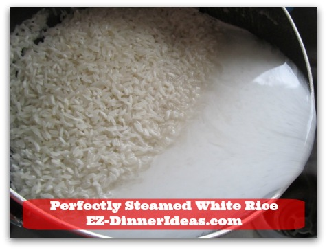 Perfectly Steamed White Rice - Just tilt the pot slightly and gently to pour out the water.  Keep rinsing until the water is clear