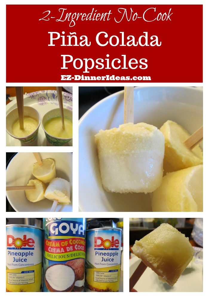 This pina colada popsicle uses 2 ingredients and no cook time.  It's super easy that anybody can make it.  How refreshing to end a hot summer night with this dessert.