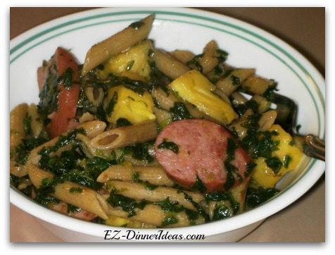 Pineapple Kielbasa Spinach Pasta