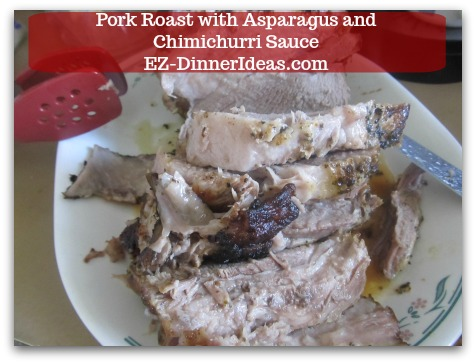 Pork Roast Recipe | Pork Roast with Asparagus and Chimichurri Sauce - Carve meat (you can keep or remove the skin at this point.)