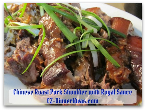 Crockpot Pork Roast Recipe - Garnish with scallion (optional) and serve more sauce on the side