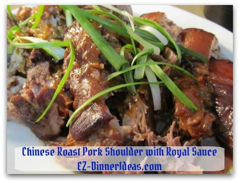 Crockpot Pork Roast Recipe - Garnish with scallion (optional) and serve more sauce on the side