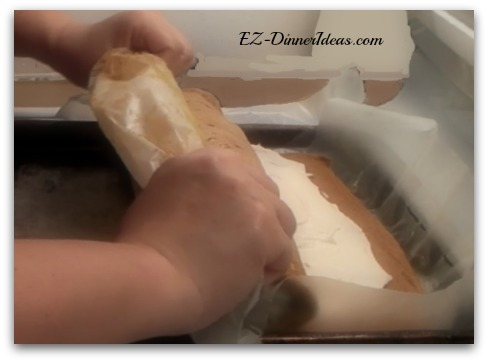 No-Towel Pumpkin Roll - Your hands'  forward motion also helps the rolling process