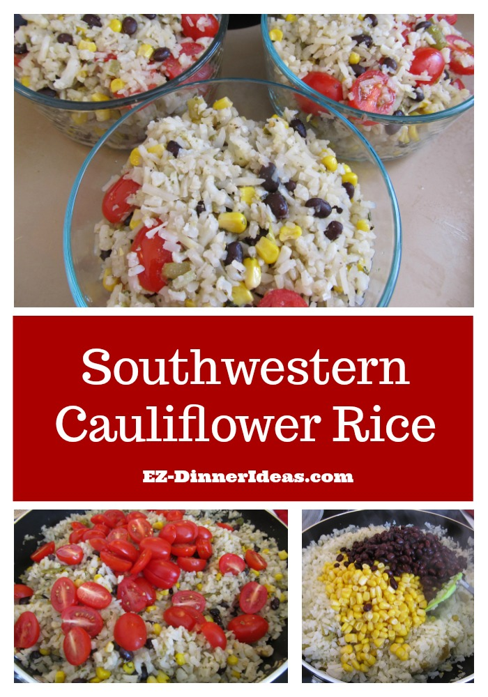 Quick and easy meal vegetable is 100% vegetarian recipe using pantry staples.  Eat with your eyes of this Southwestern Cauliflower Rice.