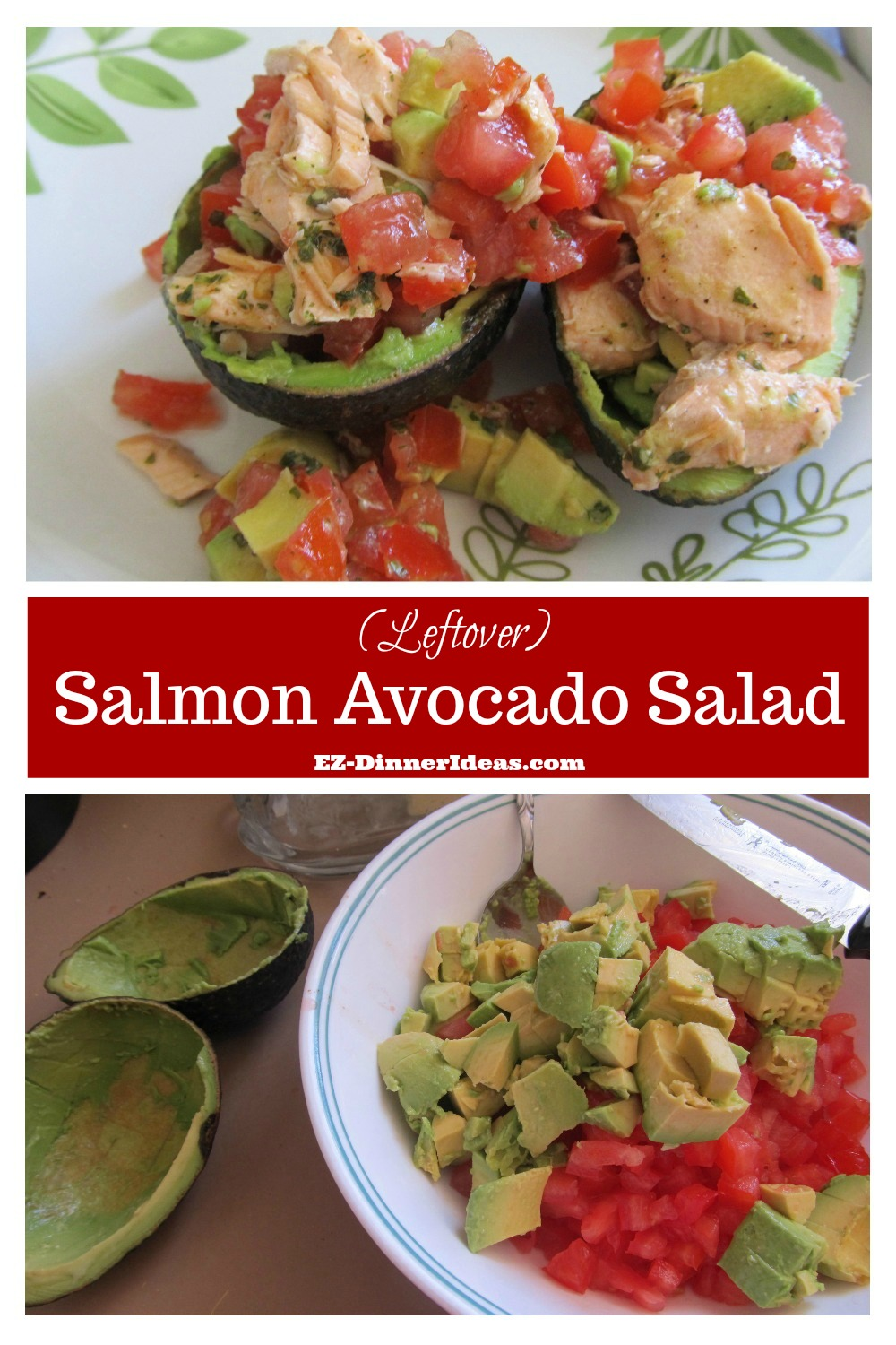 Quick and easy no-cook recipe makes healthy eating very manageable.  Assemble and dive in.  That's how simple this salmon avocado salad is.  It's beautiful and yummy.