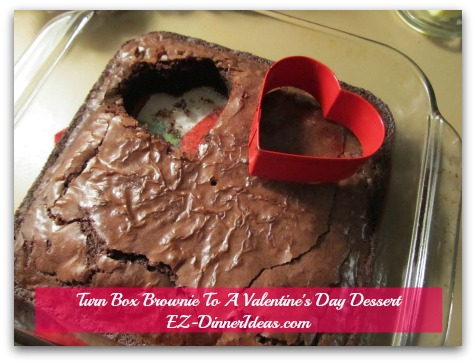 Turn Box Brownie To A Valentine's Day Dessert - Transfer brownie to a serving plate and repeat the last step for another heart-shaped brownie.  Top with ice-cream and/or sprinkles