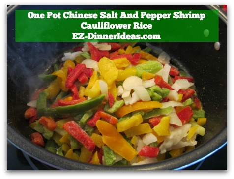 One Pot Chinese Salt And Pepper Shrimp Cauliflower Rice - In the same pot, cook stir-fry mix