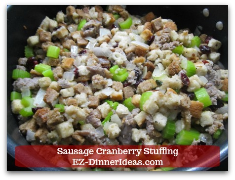 Sausage Cranberry Stuffing Recipe - Hold the salt and pepper.  Ready to transfer to casserole dish.