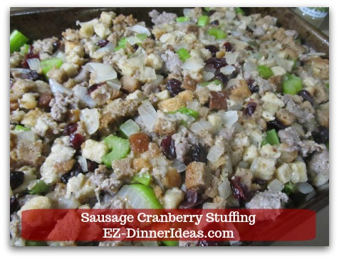 Sausage Cranberry Stuffing Recipe - Even layer stuffing in the casserole dish and bake in the oven.