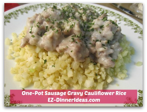 One-Pot Sausage Gravy Cauliflower Rice