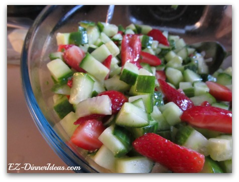 Seedless Cucumber Strawberry Salad with Pepper Jelly Dressing