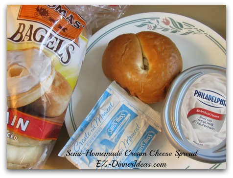 Easy Breakfast | Semi-Homemade Cream Cheese Spread for Bagels - 3 store-bought ingredients, i.e. bagel, plain cream cheese and drink mix.
